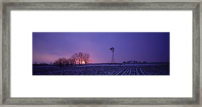 Windmill In A Field, Illinois, Usa Framed Print