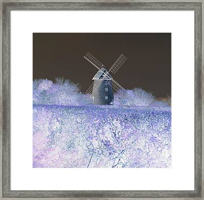 Framed Print featuring the photograph Windmill In A Purple Haze by Linda Prewer