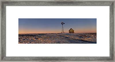 Windmill In A Snow Covered Farmland Framed Print