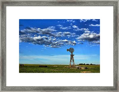 Windmill In Blue Framed Print by Steven Reed