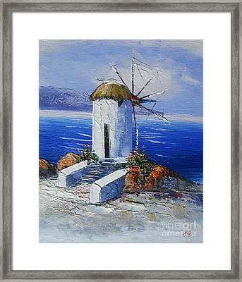 Windmill In Greece Framed Print