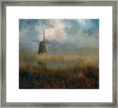 Windmill In Mist Framed Print