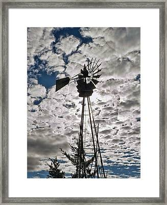 Framed Print featuring the digital art Windmill In The Clouds by Cathy Anderson