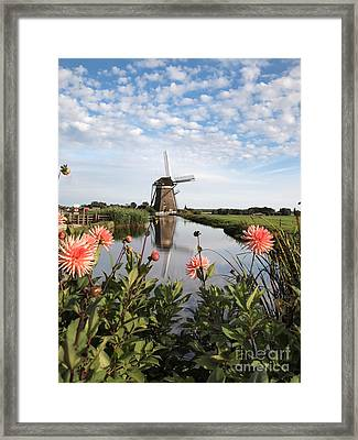 Windmill Landscape In Holland Framed Print by IPics Photography