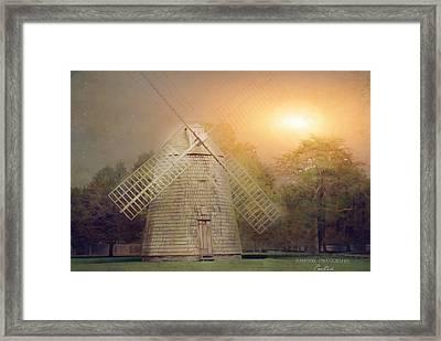 Windmill Moon Glow Framed Print by Corinne Rogers
