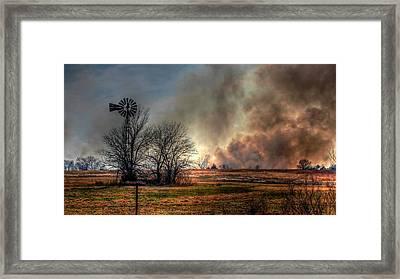 Windmill On A Burning Field Framed Print