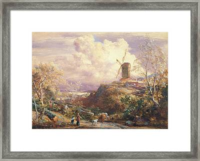 Windmill On A Hill With Cattle Drovers Framed Print by John Constable