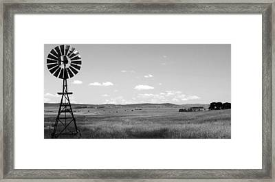 Windmill On The Plains - Black And White Framed Print by Kaleidoscopik Photography