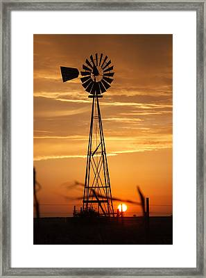 Windmill On The Prairie Framed Print by Shirley Heier