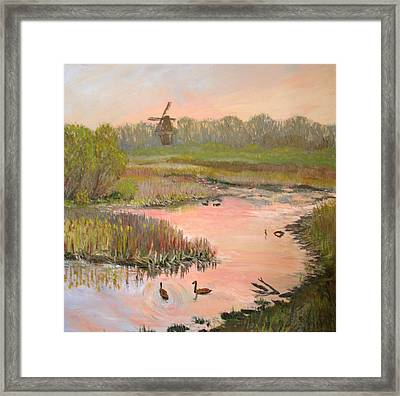 Windmill On The Waterfront Framed Print by Art Nomad Sandra  Hansen