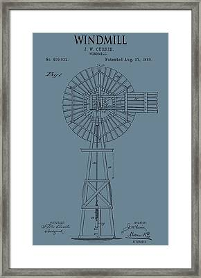 Windmill Patent On Blue Framed Print by Dan Sproul