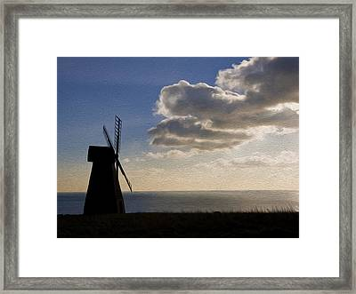 Windmill Silhouette Blowing Away Dark Clouds To Reveal Sun Burst Digital Painting Framed Print by Matthew Gibson