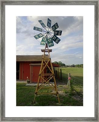 Windmill Speed Sign Posted Framed Print