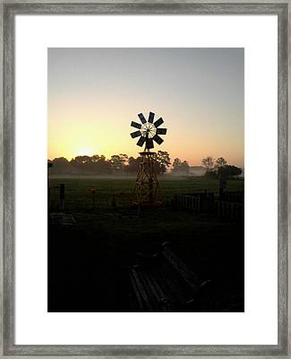 Windmill Sunrise Framed Print