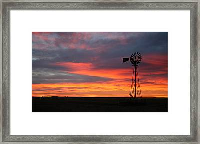 Windmill Sunrise Framed Print by Shirley Heier