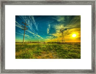 Windmill Sunset Framed Print by  Caleb McGinn