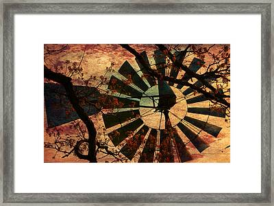Windmill Through The Oak Framed Print