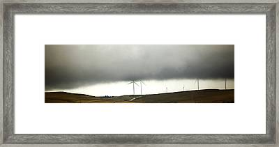 Windmills And Rain Framed Print