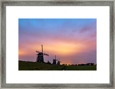 Windmills At Dawn Framed Print