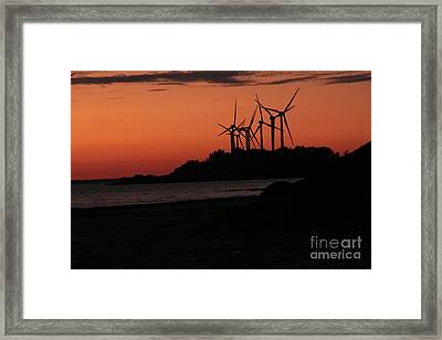 Framed Print featuring the photograph Windmills At Sunset by Jim Lepard