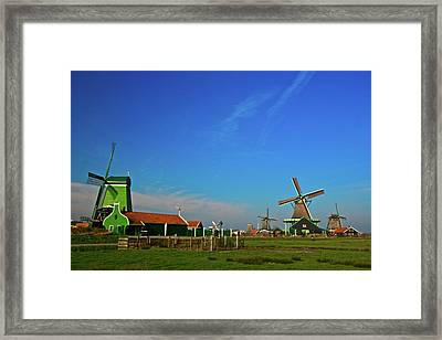 Framed Print featuring the photograph Windmills At Zaanse Schans by Jonah  Anderson