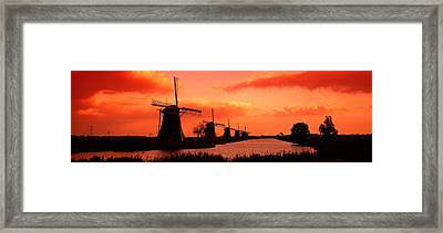 Windmills Holland Netherlands Framed Print by Panoramic Images