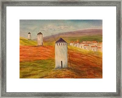 Windmills In Holland Framed Print by Nora Vega