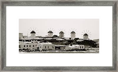 Windmills Of Mykonos Framed Print by Corinne Rhode
