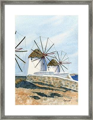 Windmills Of Mykonos Framed Print by Marsha Elliott