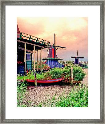 Windmills Storm Coming Framed Print