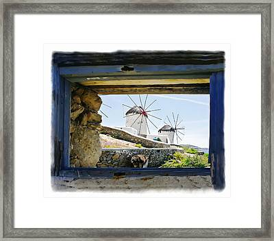 Windmills Through The Window Framed Print by Leanne Vorrias