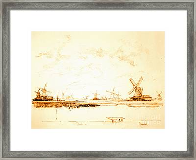 Windmills Zaandam Holland 1897 Framed Print by Padre Art
