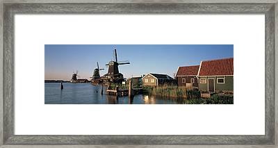 Windmills Zaanstreek Netherlands Framed Print by Panoramic Images