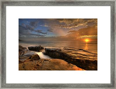 Windnsea Gold Framed Print by Peter Tellone