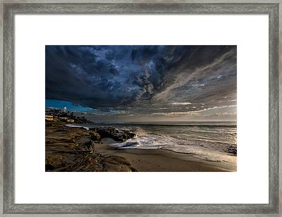 Windnsea Stormy Framed Print by Peter Tellone