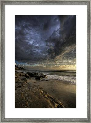 Windnsea Stormy Sky Framed Print by Peter Tellone