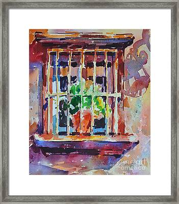 Framed Print featuring the painting Window And Cast Shadow by Roger Parent
