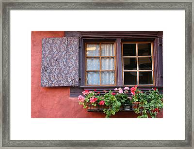 Window And Flower Box Framed Print by Holly C. Freeman