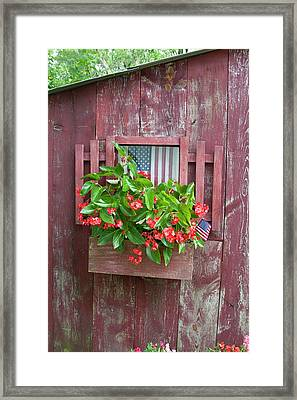 Window Box Planter With Red Dragon Wing Framed Print