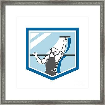 Window Cleaner Washer Worker Shield Retro Framed Print by Aloysius Patrimonio