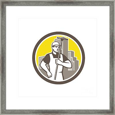 Window Cleaner Worker Holding Squeegee Circle Framed Print by Aloysius Patrimonio