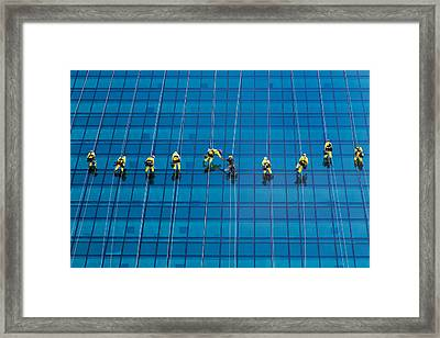 Window Cleaners Framed Print by David Van der Want