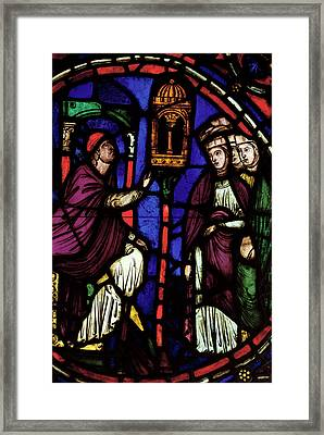 Window Depicting A Man Preaching To Three Women, Ile De France Workshop Stained Glass Framed Print by French School