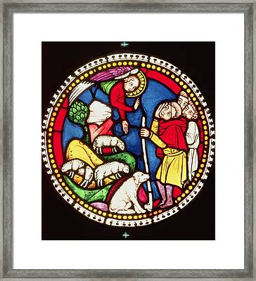 Window Depicting The Annunciation To The Shepherds, C.1300 Stained Glass Framed Print by German School