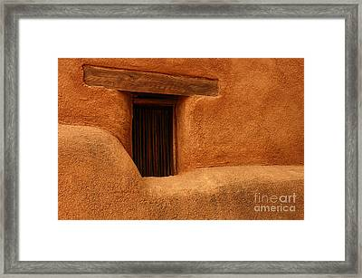Framed Print featuring the photograph Window Detail Degrazia Mission In The Sun by Vivian Christopher