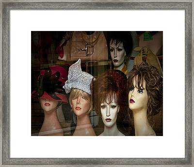 Window Display Of Wigs And Hats Framed Print