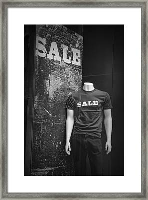 Window Display Sale In Black And White Photograph With Mannequin No.0129 Framed Print