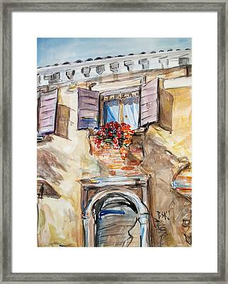 Framed Print featuring the painting Window Flowers 1 by Becky Kim