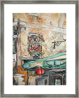 Framed Print featuring the painting Window Flowers 2 by Becky Kim