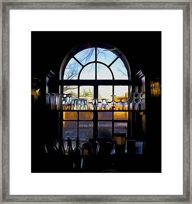 Window In A Bar Framed Print